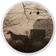 Amish Buggy Fall Round Beach Towel