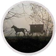 Amish Buggy Foggy Sunday Round Beach Towel