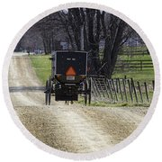 Amish Buggy March 2016 Round Beach Towel