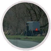 Amish Buggy Parked By A Creek Round Beach Towel