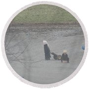 Amish Children Play Outside In The Evening Round Beach Towel