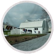 Amish Clothesline And A Barn Round Beach Towel