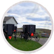Amish Country Carts Autumn Round Beach Towel