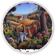 Amish Country - Coon Gap Holler Country Farm Landscape Round Beach Towel