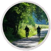 Amish Couple On Bicycles Round Beach Towel