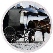 Amish Crossing Round Beach Towel