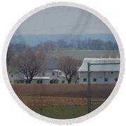 Amish Farm After Harvest Round Beach Towel
