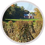 Amish Farm Country Fall Round Beach Towel