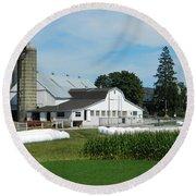 Amish Farm - Lancaster 02 Round Beach Towel