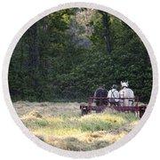 Amish Farmer Raking Hay At Dusk Round Beach Towel