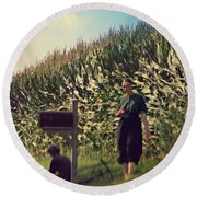 Amish Girls Watermelon Break Round Beach Towel