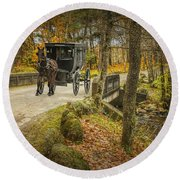 Amish Horse And Buggy Crossing A Bridge Round Beach Towel