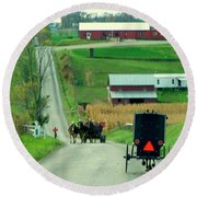 Amish Horse And Buggy Farm Round Beach Towel