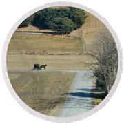 Amish Horse And Buggy On A Country Road Round Beach Towel