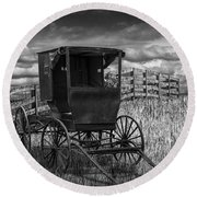 Amish Horse Buggy In Black And White Round Beach Towel