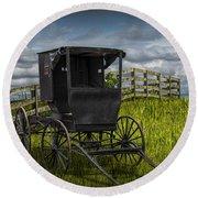 Amish Horse Buggy Round Beach Towel