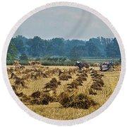 Amish Making Grain Shocks Round Beach Towel