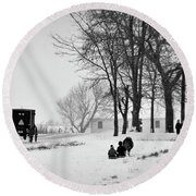 Amish Sled Ride Round Beach Towel