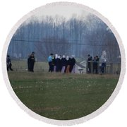 Amish Teens At An Easter Monday Gathering Round Beach Towel