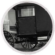 Amish Wagon _pa Round Beach Towel