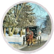 Amish Winter Round Beach Towel by David Arment