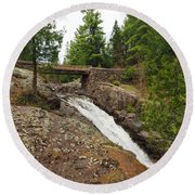 Amity Creek Falls Round Beach Towel