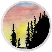 Among The Pines Round Beach Towel