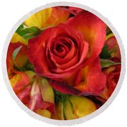 Among The Rose Leaves Round Beach Towel