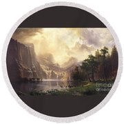 Among_the_sierra_nevada_mountains Round Beach Towel