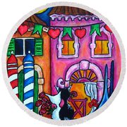 Amore In Venice Round Beach Towel