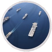 Amphibious Task Force-west In Formation Round Beach Towel by Stocktrek Images