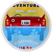 Amphicar Adventure Sign Round Beach Towel