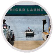 Amphicar Launch Round Beach Towel