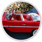 Amphicar Red  Round Beach Towel