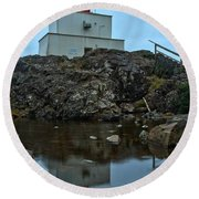 Amphitrite Point Lighthouse Reflections Round Beach Towel