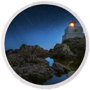 Amphitrite Point Lighthouse Round Beach Towel