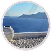 Amphora In Santorini, Greece Round Beach Towel