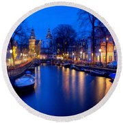 Amsterdam - A Canal Scene At Night . L B Round Beach Towel