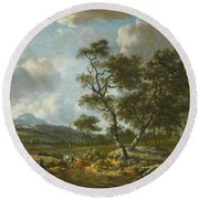 Amsterdam A Landscape With Cattle  Round Beach Towel