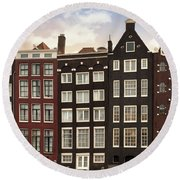 Amsterdam Architectre At Twilight Round Beach Towel