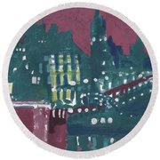 Amsterdam At 4am Round Beach Towel