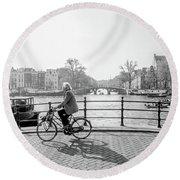 Amsterdam Bike Ride Round Beach Towel