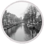 Amsterdam Canal Black And White 2 Round Beach Towel