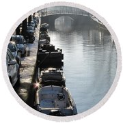Amsterdam Canal In Winter Round Beach Towel