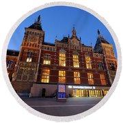 Amsterdam Central Station Round Beach Towel