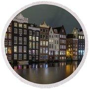 Amsterdam City Lights Round Beach Towel