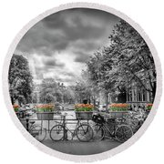 Amsterdam Gentlemens Canal Typical Cityscape Round Beach Towel