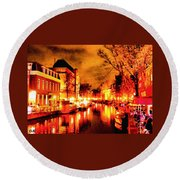 Amsterdam Night Life L A S Round Beach Towel
