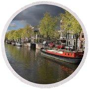 Amsterdam Prinsengracht Canal Round Beach Towel