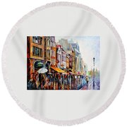 Amsterdam Rain - Palette Knife Oil Painting On Canvas By Leonid Afremov Round Beach Towel